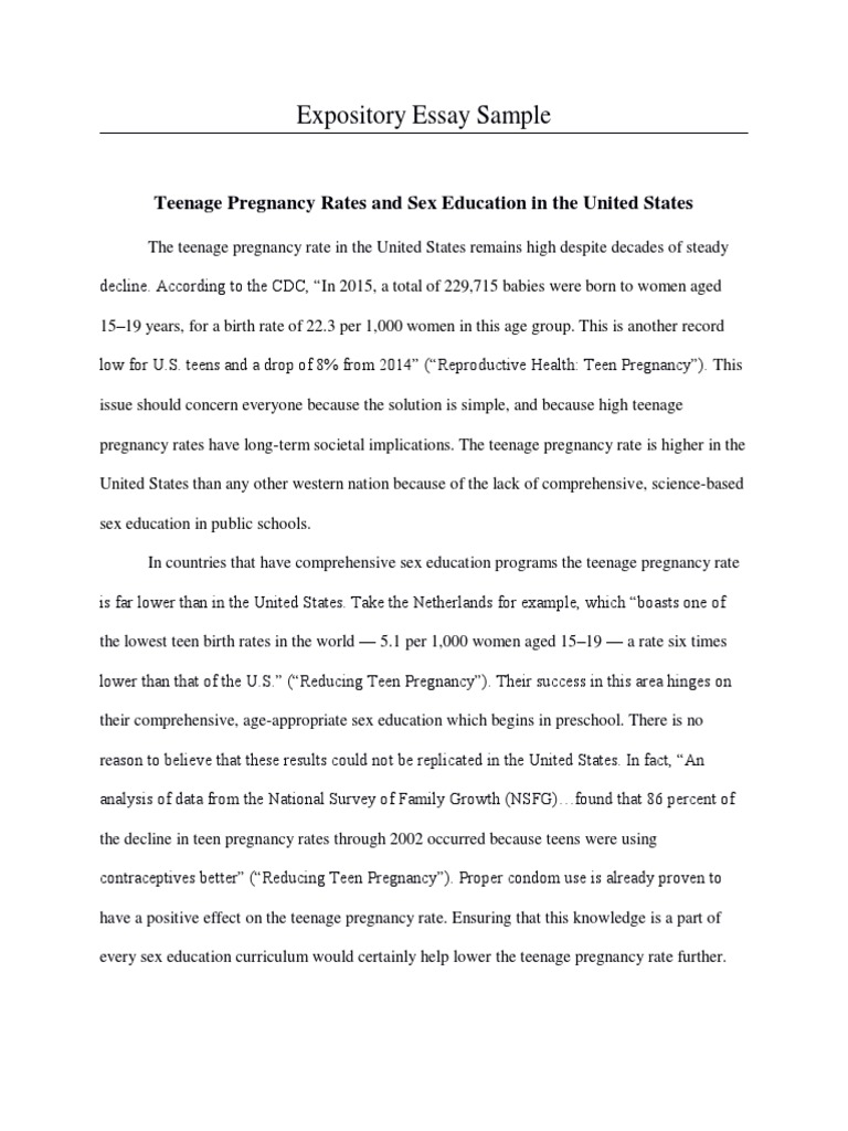 Expository essay about teenage pregnancy citing the bible in an essay