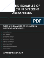 Types and Examples of Research in Different Areas/Fields