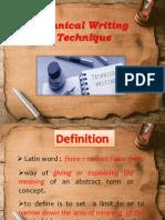 t. Writing Tecnique Definition Ppt