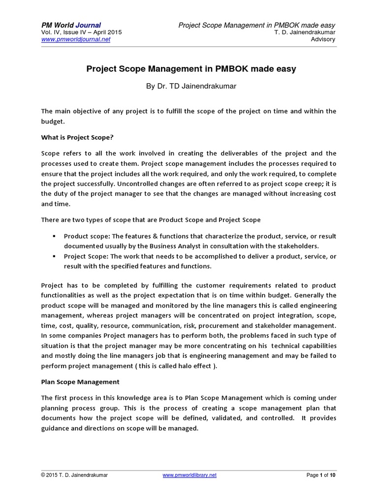 Project Scope Management Planning Example Pdf Project Management Systems Engineering