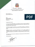 Carta de felicitación del presidente Danilo Medina con motivo del 104 aniversario del periódico La Información, de Santiago