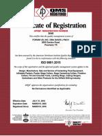 0. ISO & API Certs - Expiry Mar. 09, '22