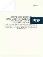 SVP-Entwurf Region Südtirol Tirolo Del Sud Auszug