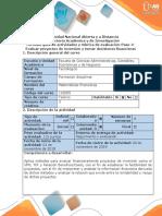 Guia de Actividades y Rubrica de Evaluacion Paso 4 -Evaluar Proyectos de Inversión y Tomar Decisiones Financieras (1)