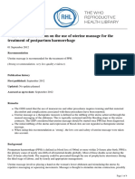 RHL - WHO Recommendation on the Use of Uterine Massage for the Treatment of Postpartum Haemorrhage - 2018-04-04