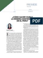 Como hacer viable la minería sostenible en el Perú