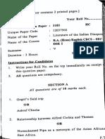 Literature of the Indian Diaspora - Question Paper