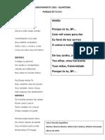 Porque És Tu B.P. - 1052 Quarteira (CNE) - Letra e Partitura