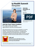 Toxic Taters Community Health Summit with Sandra Steingraber in Perham Saturday Nov. 16