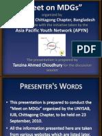 Meet on MDGs- Tanzina Ahmed Choudhury