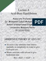 Lecture 8 - Acid-Base Equilibrium