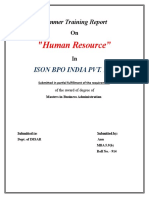 "Summer Training Report On ""Human Resource"" In ISON BPO INDIA PVT. LTD."