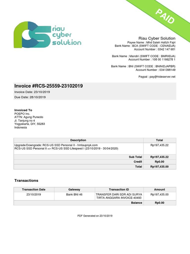 Invoice Rcs 25559 23102019 Riau Cyber Solution Services Economics Money