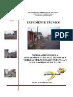 Exp. Mejoramiento de La Infraestructura Vial de Pistas y Veredas de Las Calles Tarapaca y Olga Grohmann de Tacna