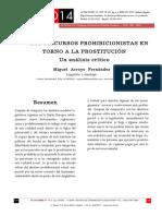 Discursos prohibicionistas en torno a la prostitución. Miguel Arroyo Fernández