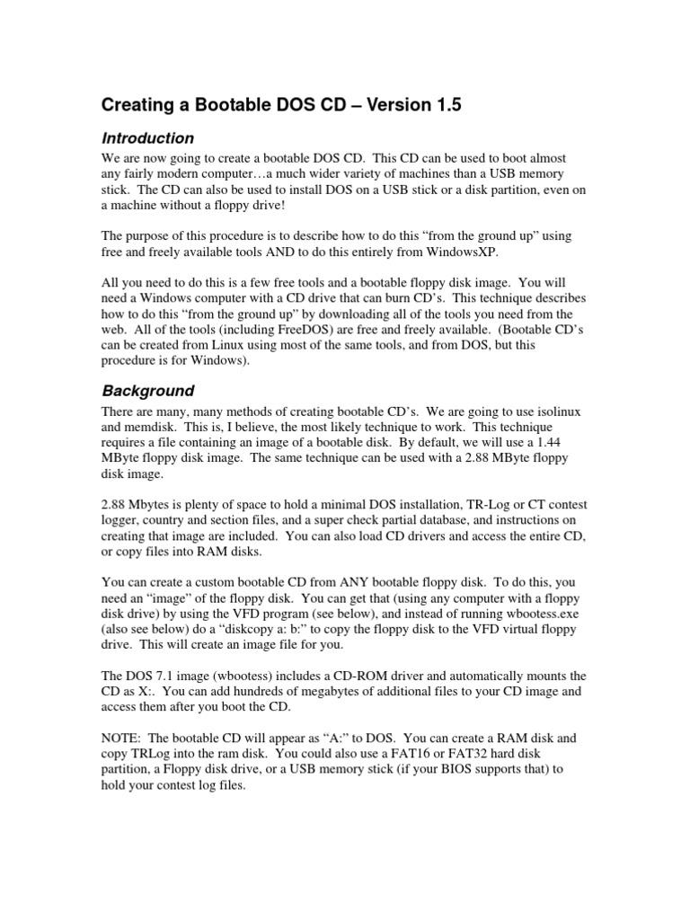 Creating a Bootable DOS CD v 1 5 | Dos | Computer File