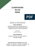 clasificación de las penas