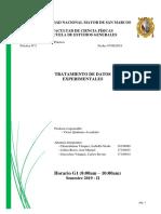 Informe de laboratorio de física - Tratamientos de datos experimentales