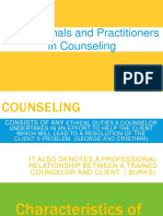 Professionals and Practitioners in Counseling