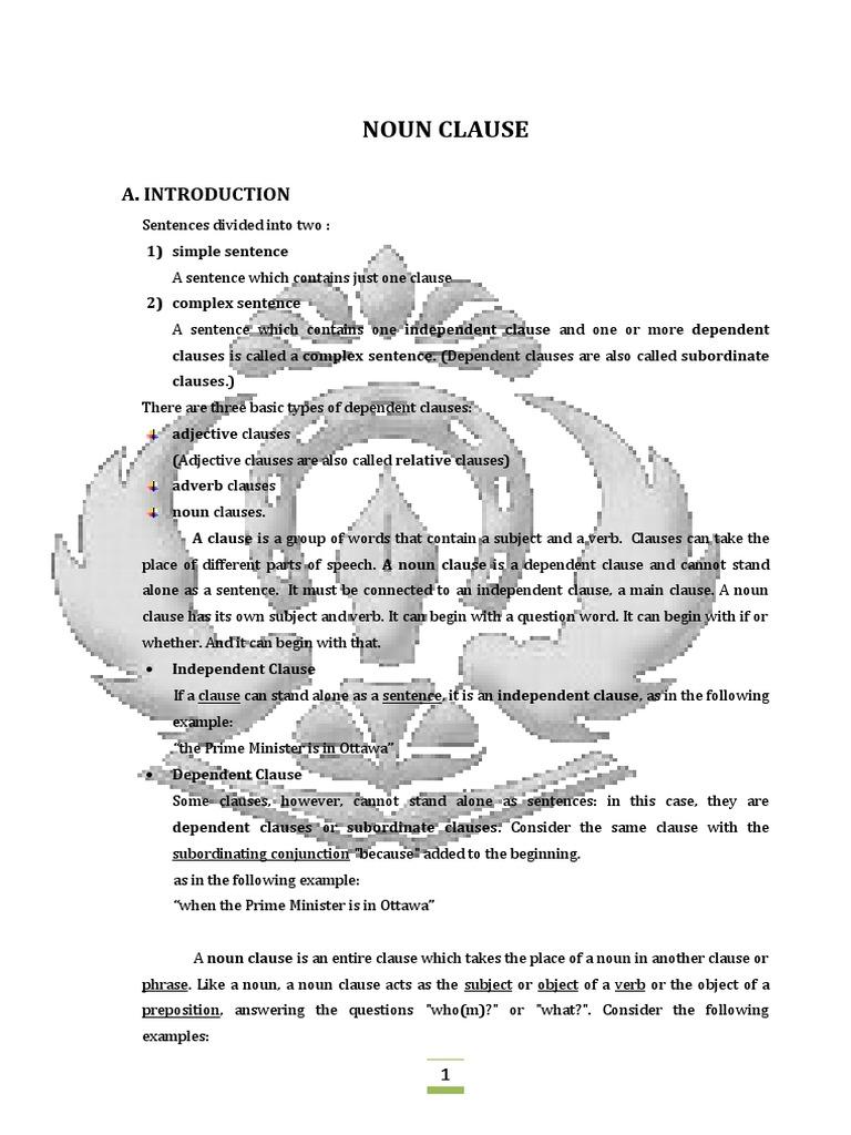 Makalah english noun clause clause sentence linguistics ccuart Image collections