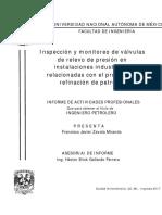 Inspeccion y Monitoreo de Valvulas de Relevo de Presion en Instalaciones Industriales Relacionadas Con El Proceso de Refinacion de Petroleo
