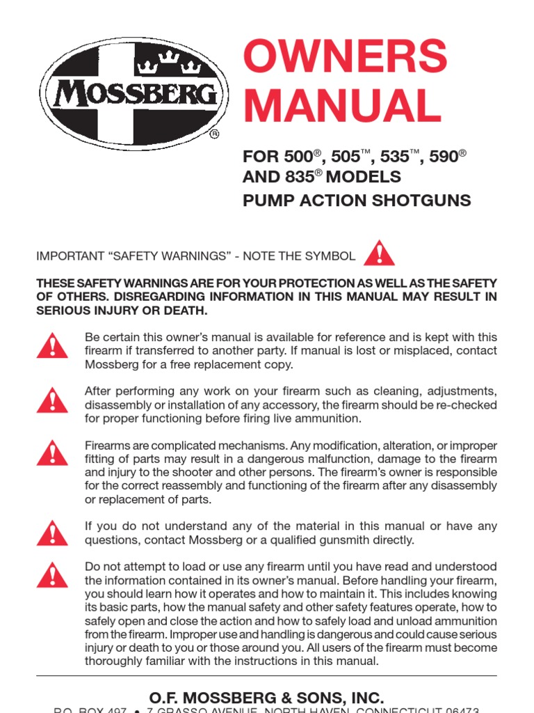 mossberg owners manual shotgun firearms rh scribd com mossberg 930 owners manual mossberg patriot owner's manual