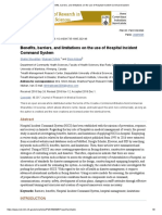 Benefits, Barriers, And Limitations on the Use of Hospital Incident Command System