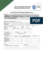 Admission Form Session 2013