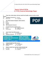 Sports Solved MCQs (for CSS, PMS, NTS) General Knowledge Paper