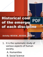 Historical Context of the Emergence of Each Discipline - DISS