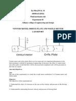 Venturi Meter and Orifice Plate Lab Report