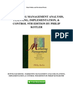 Marketing Management Analysis Planning Implementation Control 9th Edition by Philip Kotler
