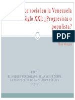 Política Social en la Venezuela del sigloXXI ¿Progresista o Populista?