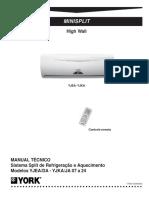 _MINISPLIT. High Wall. MANUAL TÉCNICO Sistema Split de Refrigeração e Aquecimento Modelos YJEA_DA - YJKA_JA 07 a 24 YJEA- YJKA..pdf