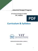 B.des. @VIT Vellore - Curriculum & Level-1 Syllabus - 21st July 2018