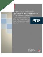75556635 WTO Dispute Settlement Mechanism a Critical Analysis