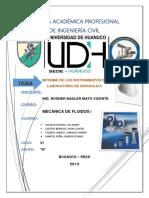 Informe de Instrumentos Mecánica de Fluidos