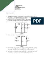 Lista de Exercícios Eletrotécnica