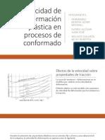 Velocidad de Deformación Plástica en Procesos de Conformado