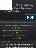 Problem Solving Linear Equation
