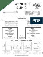 Spay & Neuter Clinic Price List