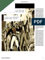 ¿Qué Paso El 20 de Julio de 1810