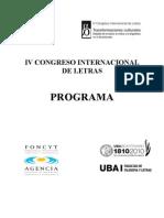 Programa IV Congreso Internacional de Letras (2)