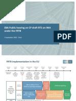 EBA Public Hearing CP Draft RTS on FRTB IMA