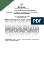 A Implementação Das Tecnologias Da Informação e Comunicação - TICs Como Ferramentas de Modernização e Efetividade Na Gestão Pública
