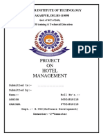 Synopsis on project of hotel management