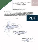 Comunicado N° 18-2019-CAL/CE