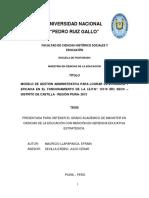 MODELO DE GESTIÓN ADMINISTRATIVA PARA LOGRAR LA EFICIENCIA Y EFICACIA EN EL FUNCIONAMIENTO DE LA I.E.P.N° 14119 RÍO SECO – DISTRITO DE CASTILLA - REGIÓN PIURA- 2013