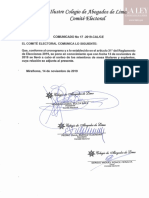 Comunicado N° 17-2019-CAL/CE