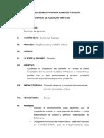 Guia de Procedimientos Para Admision Paciente